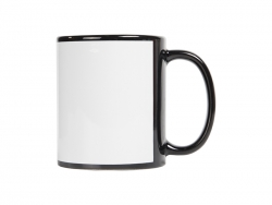 11oz Sublimation Full Color Mug with White Patch-Black