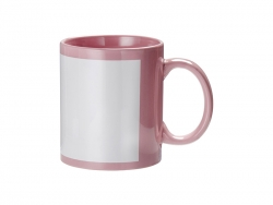 11oz Full Colour Mug w/ White Patch(Pink)